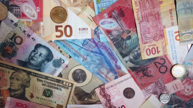 wide variety of currency from different countries - variation stock videos & royalty-free footage