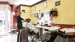Wide Video Shot of Hair Colorist Working on Customer in Time of COVID-19