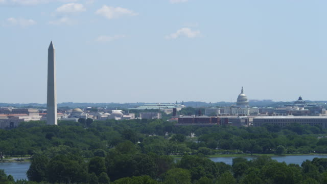 Wide view from Washington Monument to US Capitol Building, Smithsonian Castle in center. Shot in 2012.