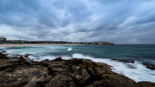 Wide View of Bondi Beach in Sydney and South Pacific Ocean
