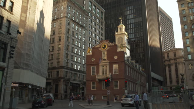 Wide view of Boston's Old State House, Massachusetts, USA.