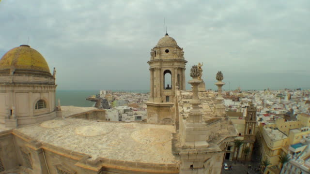 wide view of cadiz city from cathedral top - stationery stock videos & royalty-free footage