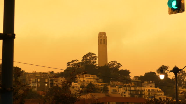 wide view of coit tower under the smokey orange sky on september 9, 2020 - コイトタワー点の映像素材/bロール