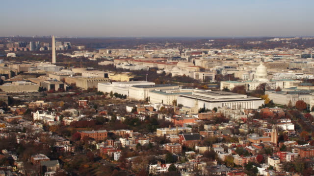 wide view of national mall and capitol hill in washington dc; flight crosses pennsylvania avenue. shot in 2011. - wide stock videos & royalty-free footage
