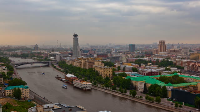 tl wide view of the moscow international house of music and embankment of the moscow river / russia, moscow - river moscva stock videos & royalty-free footage
