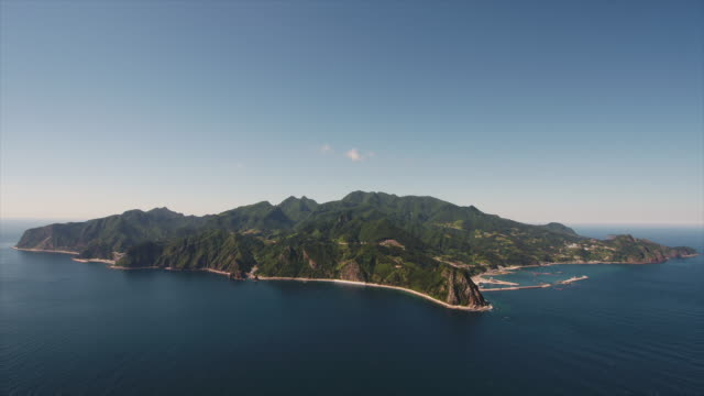 wide view of ulleung island in korea - cay insel stock-videos und b-roll-filmmaterial