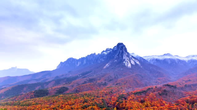Wide view of Ulsan Rock at fall colored Mt. Seoraksan