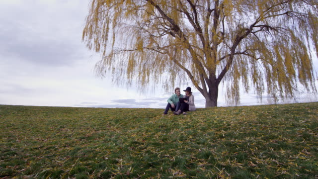 Wide view of young man and woman under golden tree