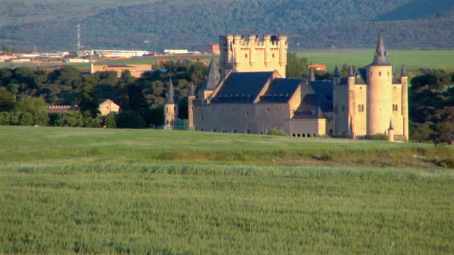 wide view: segovia spain castle nature surrounded - segovia stock videos & royalty-free footage