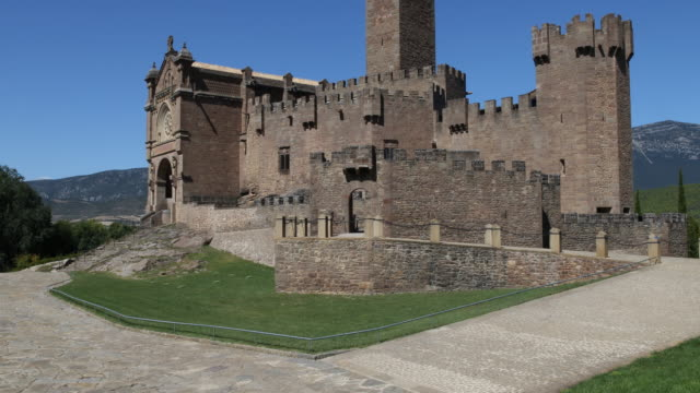 wide-angle-view of the castle of xavier , on which the saint francisco de xavier was born on 7.4.1506. francis xavier was a navarrese basque roman... - missionary stock videos & royalty-free footage