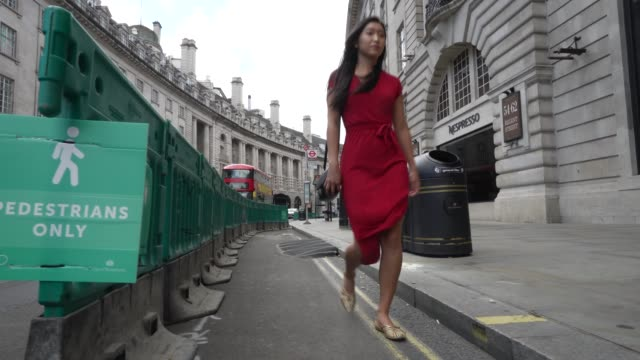 a widen pathway to help with overcrowding and social distancing is in place on london regent street on june 28th more retailers are reopening with... - footpath stock videos & royalty-free footage