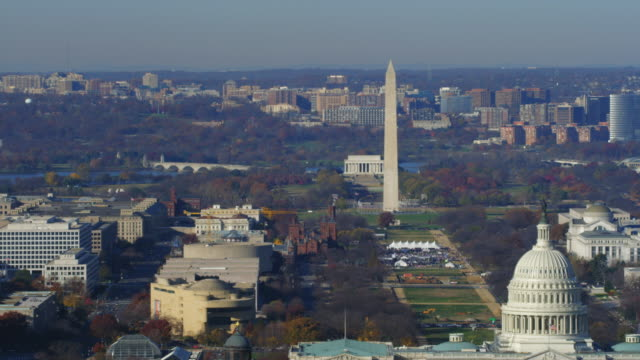 widening view from washington monument reveals capitol, library of congress, and supreme court. shot in 2011. - smithsonian institution stock videos & royalty-free footage
