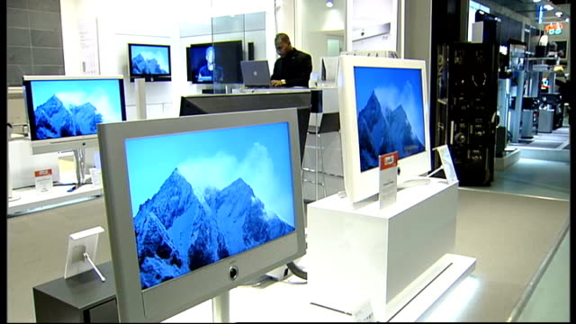 widescreen plasma hd television on display in showroom - liquid crystal display television stock videos and b-roll footage