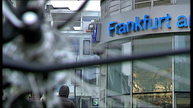 widespread disorder following new spending cuts frankfurt ext exterior of bank general views people along street - ファイサル・イスラム点の映像素材/bロール
