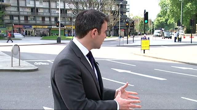 widow of cyclist calls elephant and castle roundabout 'deathtrap' reporter to camera bill chidley interview sot double decker buses and traffic along... - widow stock videos & royalty-free footage