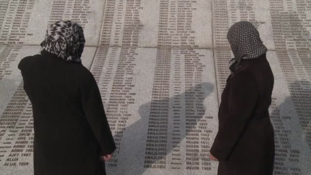 widows of the srebrenica massacre hope he be given the most serious sentence while bosnian serbs say radovan karadzic is not responsible for the war - sentencing stock videos & royalty-free footage