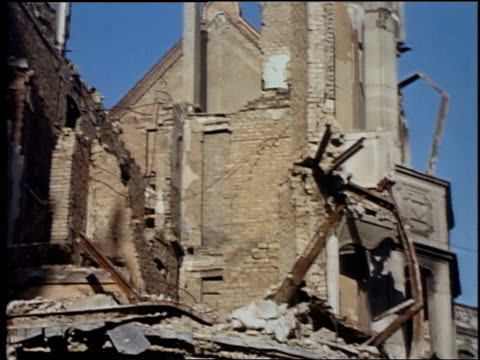 stockvideo's en b-roll-footage met wiesbaden church badly damaged by bombing during war / germany - geallieerde mogendheden