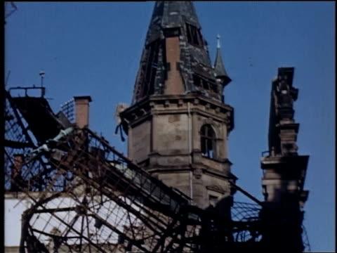 wiesbaden railway station damaged by bombing during war / germany - wiesbaden stock-videos und b-roll-filmmaterial