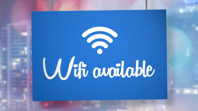 wifi available sign hanging from ropes. luma matte included so you can put your own background. - hanging sign stock videos and b-roll footage