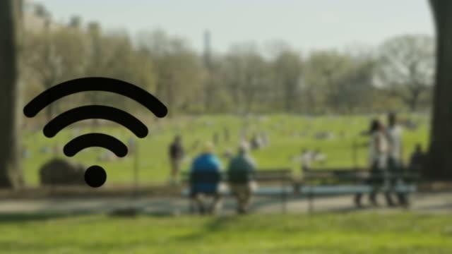W-LAN-hotspot kabelloses Technologie im Central park
