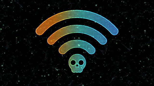 wi-fi krack icon - threats stock videos & royalty-free footage
