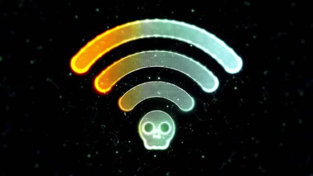 wi-fi-krack-symbol - computerfehler stock-videos und b-roll-filmmaterial