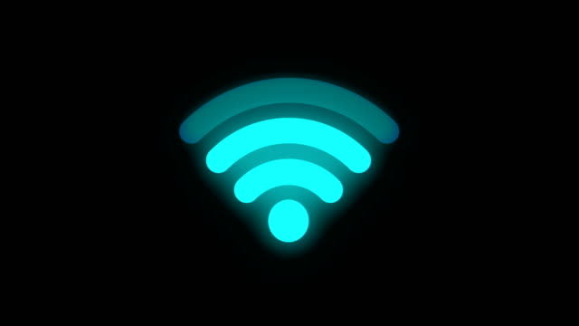 wifi zeichen in neon farbe, 4k schleife - wireless technology stock-videos und b-roll-filmmaterial