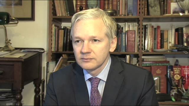 interview with wikileaks founder england london int julian assange interview sot wikileaks is a source protection / that means that we do not know... - amnesty international stock videos & royalty-free footage