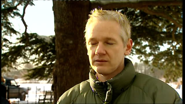 Julian Assange Ellingham Hall interviews Julian Assange interview SOT good to have a party with friends following release/ have tried to find out...