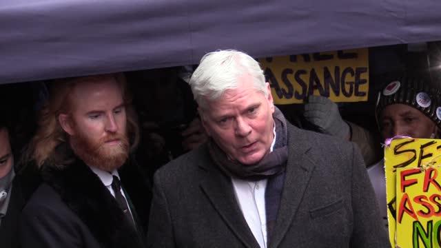 wikileaks co-founder julian assange's partner stella moris and wikileaks' editor-in-chief kristinn hrafnsson speak to the press outside old bailey in... - 2010 2019 stock videos & royalty-free footage