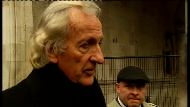 wikileaks founder julian assange released from prison on bail: john pilger and tariq ali interviewed; england: london: high court: ext john pilger... - john pilger stock videos & royalty-free footage