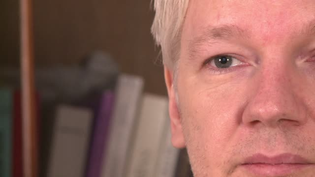 wikileaks founder julian assange speaking friday from the ecuadorian embassy in london that has been his home for almost a year commented on the us... - data mining stock videos & royalty-free footage