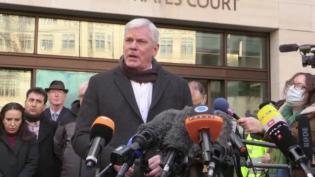 wikileaks spokesman kristinn hrafnsson and julian assange's partner, stella moris, speak to the media outside westminster magistrates' court, london,... - spokesman stock videos & royalty-free footage