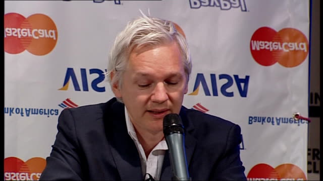 wikileaks suspends publication of classified files due to 'financial blockade' julian assange press conference julian assange press conference sot... - publication stock videos & royalty-free footage
