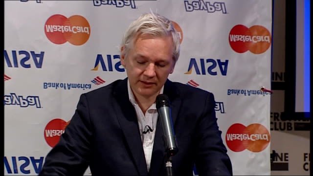 wikileaks suspends publication of classified files due to 'financial blockade' julian assange press conference england london the frontline club... - treasury stock videos and b-roll footage