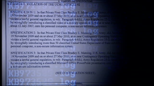 wikileaks website reveals 90,000 classified documents relating to the conflict in afghanistan; reconstruction text of charge sheet / hands typing on... - document stock videos & royalty-free footage