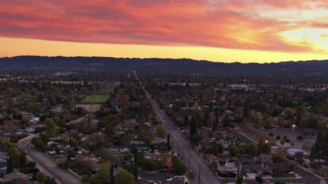 wilbur ave, northridge, ca at sunset - aerial establisher - northridge stock videos & royalty-free footage