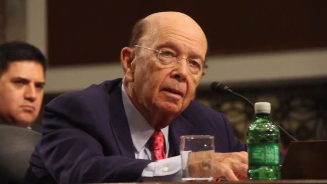 wilbur ross, picked by president-elect donald trump to serve as his commerce secretary, testifies at his confirmation hearing in front of the senate... - cabinet member stock videos & royalty-free footage