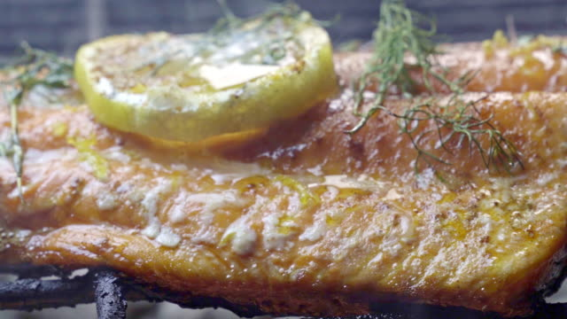 wild caught salmon filet on a fiery grill topped with lemon slice and herbs - seafood stock videos & royalty-free footage