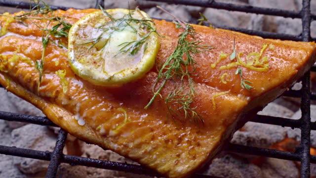 vídeos de stock e filmes b-roll de wild caught salmon filet on a fiery grill topped with lemon slice and herbs - salmão peixe