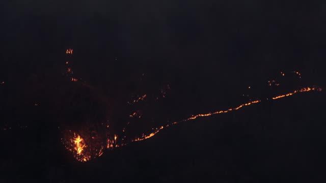 wild fire night shot of hillside - ash stock videos & royalty-free footage