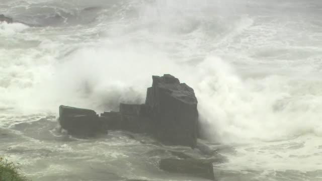 Wild Waves Against Rocks, Hokkaido, Japan
