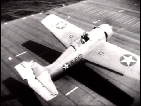 wildcat fighter planes taking off from aircraft carrier uss enterprise / pacific theater of operation - warship stock videos & royalty-free footage