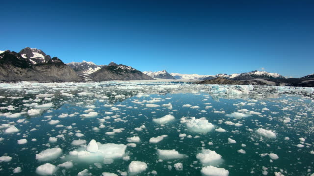 pov wilderness landscape floating glacial icebergs alaska usa - pacific war stock-videos und b-roll-filmmaterial