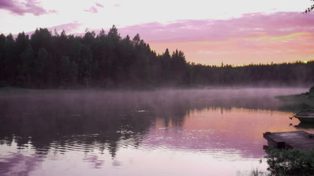 wilderness river in scandinavia night view with fog - smog stock videos & royalty-free footage