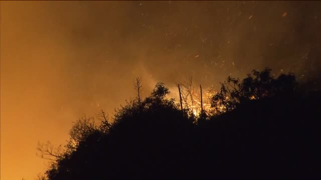 ktla wildfire burning brush at night on may 03 2013 in camarillo california - camarillo stock videos & royalty-free footage