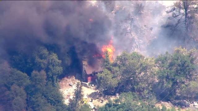 ktla a wildfire burning in the angeles national forest north of glendora on friday grew to more than 1800 acres amid tripledigit temperatures leaving... - angeles national forest stock videos and b-roll footage