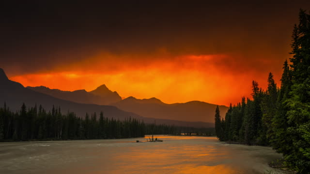 wildfire in canada in banff national park - time lapse - banff stock videos & royalty-free footage