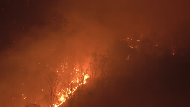 wildfire on the mountain at night - extreme weather stock videos & royalty-free footage