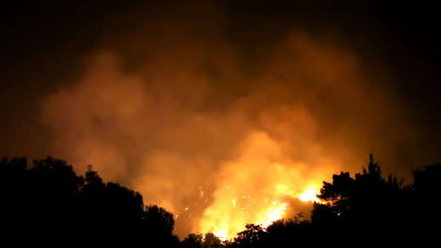 Wildfire Raging In Hills (HD